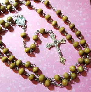 Jerusalem Olive wood Rosary silver tone